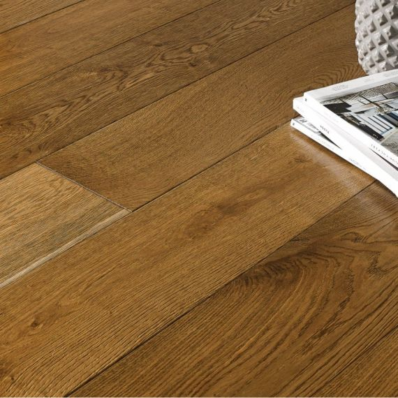 Highgate Engineered Smoked Oak Brushed and Lacquered 125mm x 18/4mm Wood Flooring