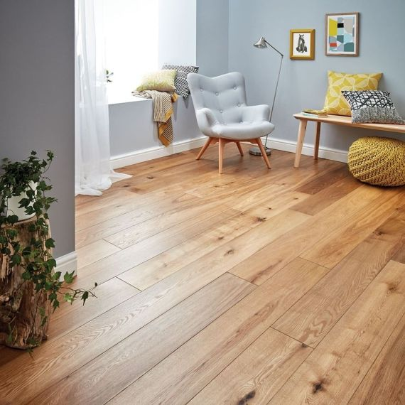 Glanwell Engineered Natural Oak Rustic Aged Brushed and Oiled Click Lok 183mm x 15/4mm Wood Flooring (Wooden Flooring)