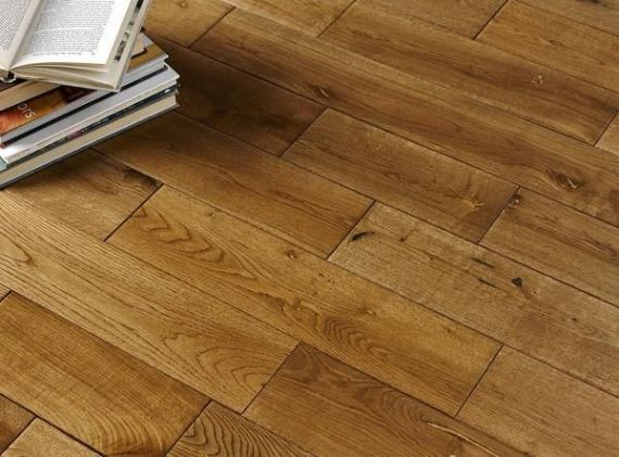 Edmonton Elite Solid Golden Oak Handscraped 150mm x 18mm Wood Flooring (Wooden Flooring)