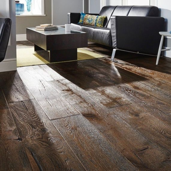 Cressington Elite Engineered Coffee Vintage Distressed Oak Brushed & Oiled 300mm x 18/4mm Wood Flooring (Wooden Flooring)
