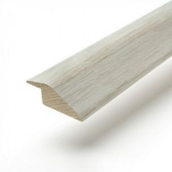 White Washed Solid Oak Full Ramp (Wood to Vinyl/Tile) To Complement White Flooring 2.7m Length