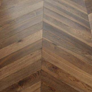 Sawbury Elite Engineered Double Smoked and Oiled 90mm x 18/4 Chevron Wood Flooring (Wooden Flooring)