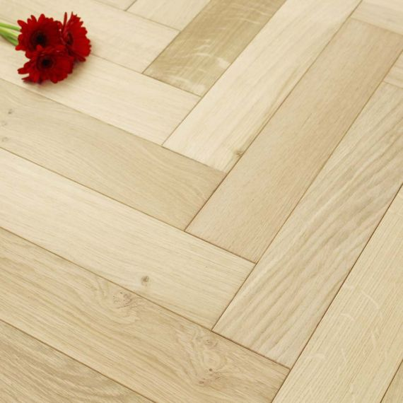 Sawbury Engineered Natural Oak Unfinished 80mm x 18/3mm Parquet Wood Flooring (Wooden Flooring)