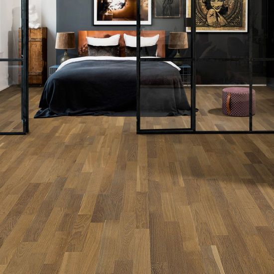 Henley Engineered Smoked Oak Brushed & Matt Lacquered Click Lok 195mm x 13.5/3.5mm Wood Flooring