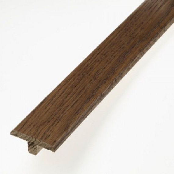 Walnut Stained Solid Oak Profile Door T-Bar To Complement Walnut Flooring 2.7m Length