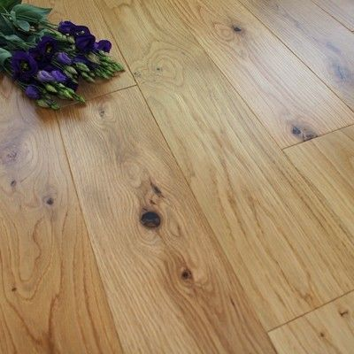 Twickenham Solid Natural Oak Lacquered 120mm X 18mm Wood Flooring (Wooden Flooring)