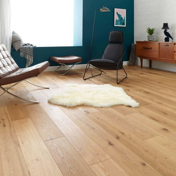 Highgate Engineered Natural Oak Lacquered Click Lok 165mm x 15/4mm Wood Flooring
