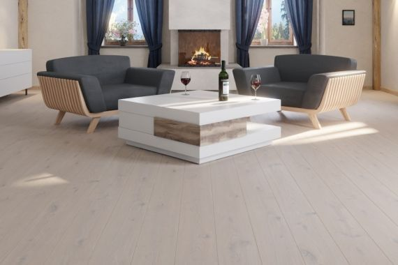 Meister PD200 Arctic White Rustic Oak Oiled 180mm x 13/2.5mm Wood Flooring (Wooden Flooring)