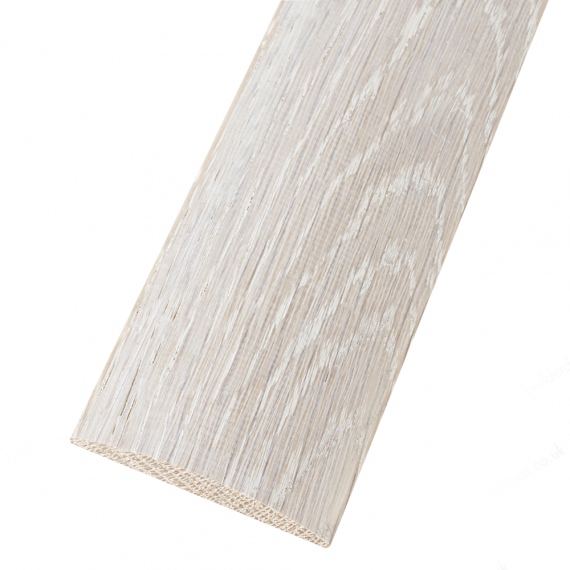 White Washed Solid Oak Coverstrip To Complement White Flooring 3m Length