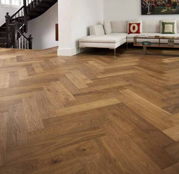Sawbury Engineered Natural Oak Brushed and Matt Lacquered 80mm x 18/3mm Parquet Wood Flooring (Wooden Flooring)