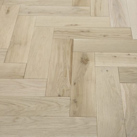Sawbury Engineered Unfinished Oak 90mm x 18/4mm Parquet Wood Flooring (Wooden Flooring)