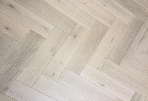 Sawbury Engineered Smoked and Whitewashed Oak Brushed and Matt Lacquered 90mm x 18/4mm Parquet Wood Flooring (Wooden Flooring)