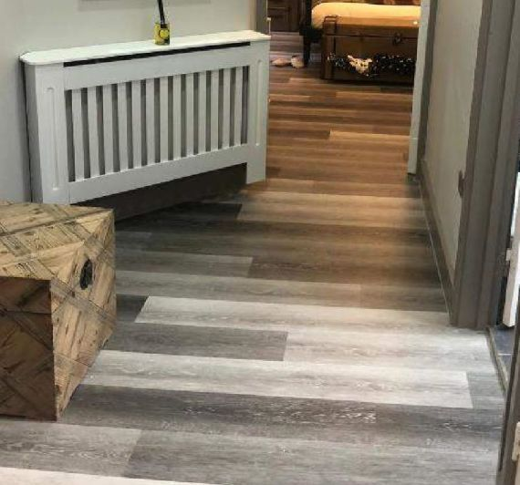 Hillingdon Luxury Vinyl Fashion Grey 180mm x 4/0.5mm LVT Flooring (Wooden Flooring)