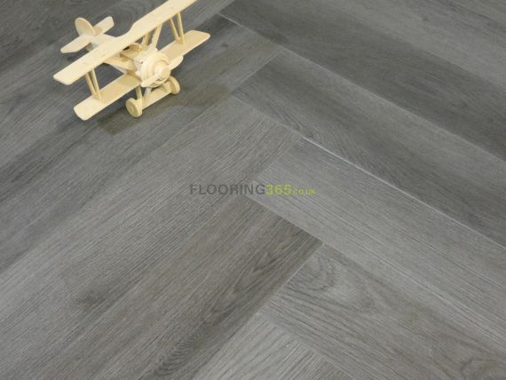 Calder Luxury Vinyl Dark Grey 126mm x 5/0.3mm Herringbone LVT Flooring