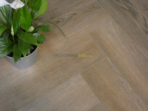 Calder Luxury Vinyl Smoked Oak 126mm x 5/0.3mm Herringbone LVT Flooring