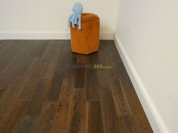 Milano Solid Coffee Oak Handscraped 110mm x 18mm Wood Flooring