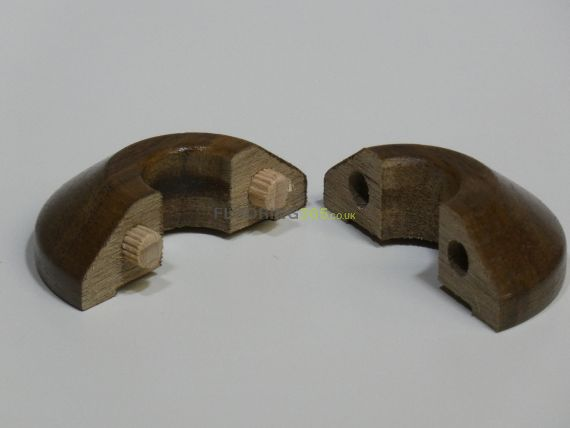 Walnut Stained Solid Oak Pipe Covers for 15mm Radiator Pipes To Complement Walnut Flooring