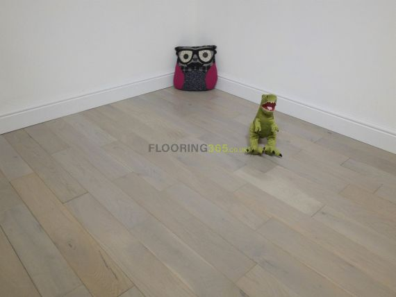 Milano Solid Light Grey Oak Brushed & Lacquered 110mm x 18mm Wood Flooring