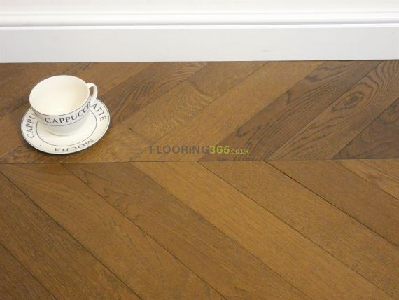 Sawbury Elite Engineered Coffee Oak Brushed and Oiled 90mm x 15/4mm Chevron Wood Flooring