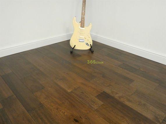Twickenham Solid Coffee Oak Handscraped 125mm X 18mm Wood Flooring