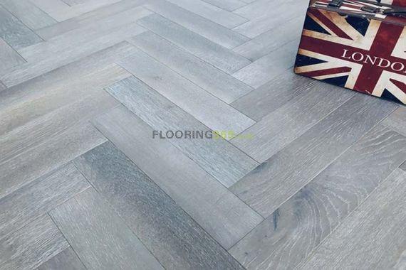 Sawbury Engineered Dark Grey Brushed and Oiled 90mm x 15/4mm Parquet Wood Flooring