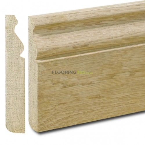 Henley Solid Oak 95mm x 20mm Unfinished Skirting Board 2.4m Length