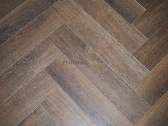 Hillingdon Luxury Vinyl Chestnut Brown 126mm x 6/0.5mm Herringbone LVT Flooring