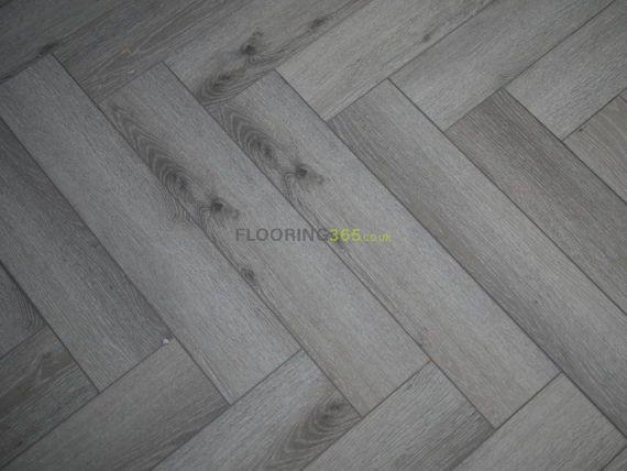 Hillingdon Luxury Vinyl Pearl Grey 126mm x 6/0.5mm Herringbone LVT Flooring